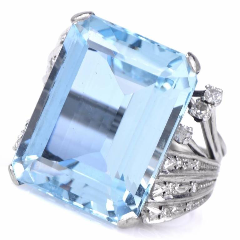 Aquamarine Diamond Platinum Ring 5