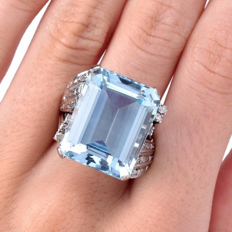 Aquamarine Diamond Platinum Ring 4