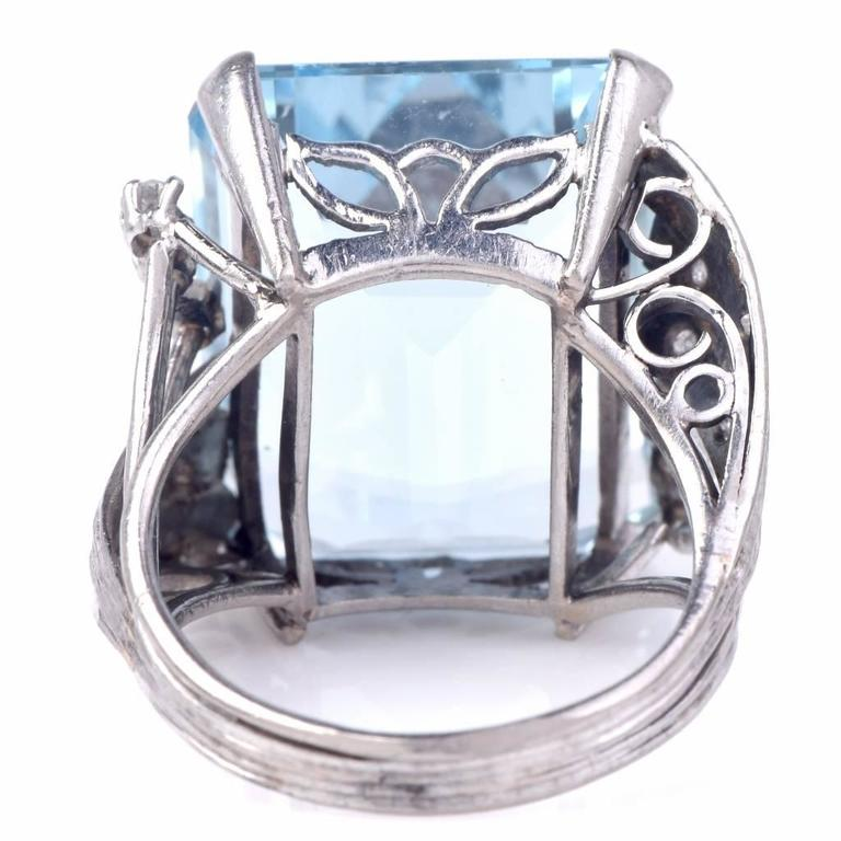Aquamarine Diamond Platinum Ring 3