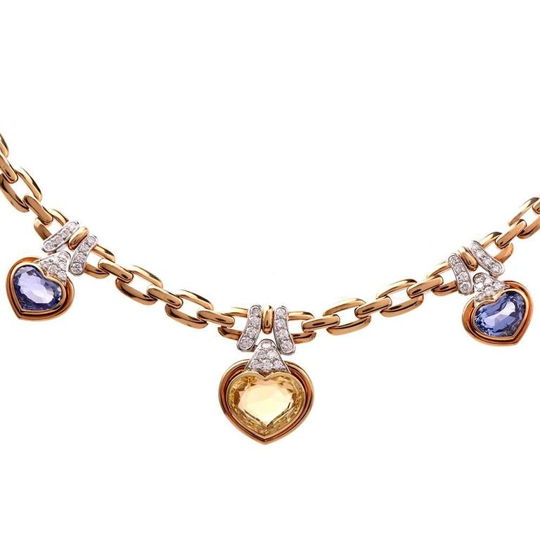 1980s GIA Natural Sapphire Diamond Choker Gold Necklace For Sale 1
