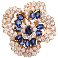 Oscar Heyman Sapphires Diamonds Gold Floral Brooch Pin