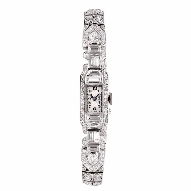 Mathey Tissot Ladies Diamond Platinum Bracelet Wristwatch 4