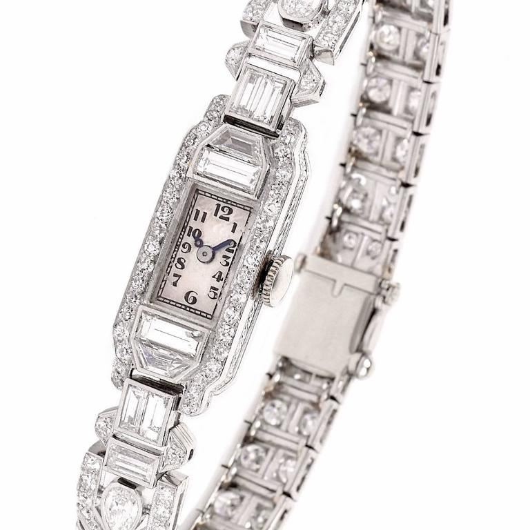 Mathey Tissot Ladies Diamond Platinum Bracelet Wristwatch 6