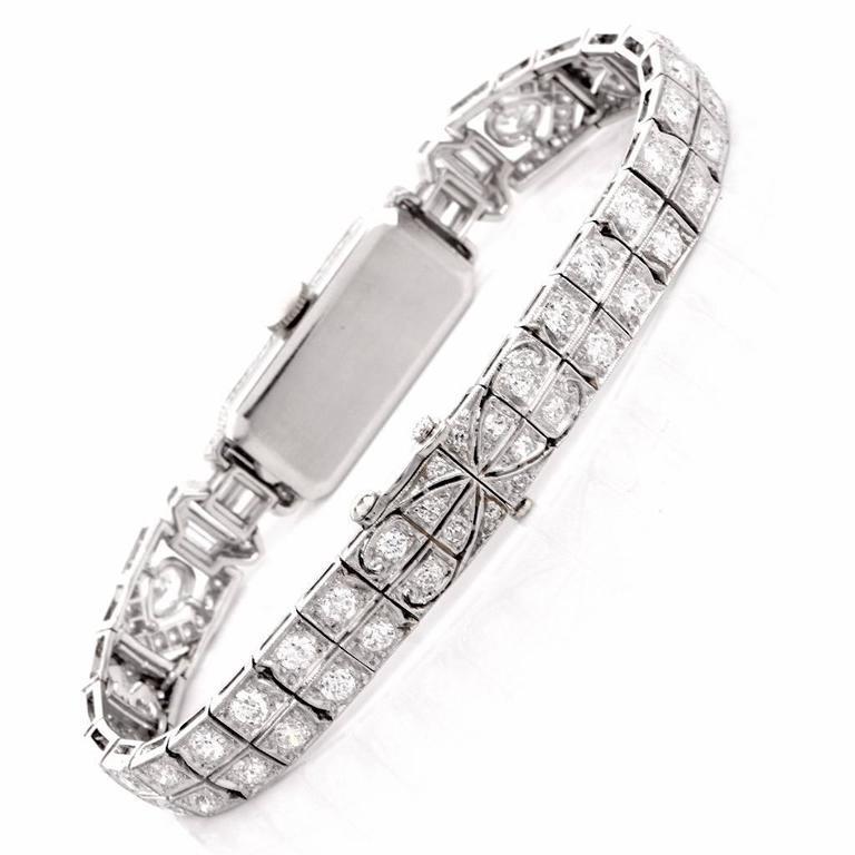 Mathey Tissot Ladies Diamond Platinum Bracelet Wristwatch 7