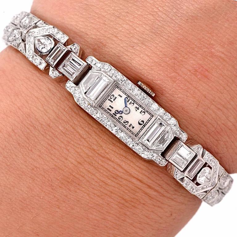 Mathey Tissot Ladies Diamond Platinum Bracelet Wristwatch 9