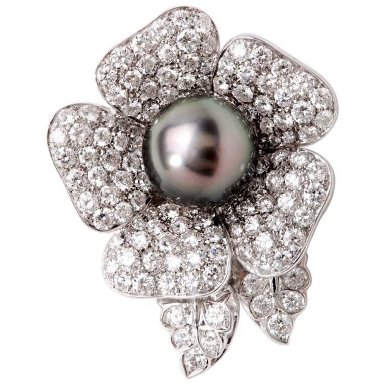 Craiger Drake 11.00 Carat Diamonds Pearl Gold Flower Brooch Pin