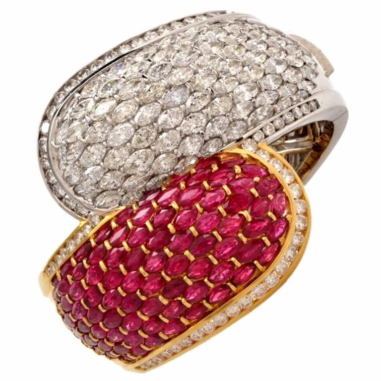 1980s Large Diamond Ruby Crossover Bangle Cuff Bracelet