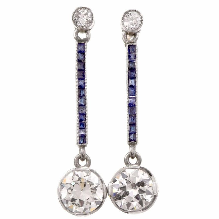 Antique Art Deco Diamond Blue Sapphire Pendant Earrings