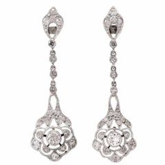 Antique Diamond Platinum Chandelier Dangle Drop Earrings
