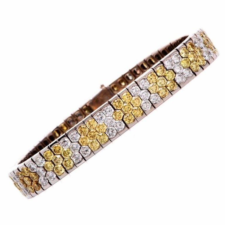 Modern Natural Fancy Yellow Diamond  Gold Bracelet
