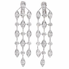 "Cartier ""Naiade"" Diamond 18 Karat Gold Dangle Drop Earrings"