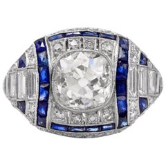 Antique Old Mine Diamond Sapphire Engagement Platinum Ring