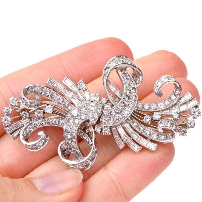 Vintage Retro Diamond Platinum Double Clip Brooch Pin For Sale 4