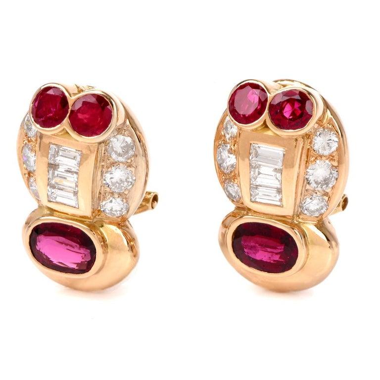 Women's 1980s Diamond Ruby Clip on 18 Karat Gold Earrings For Sale
