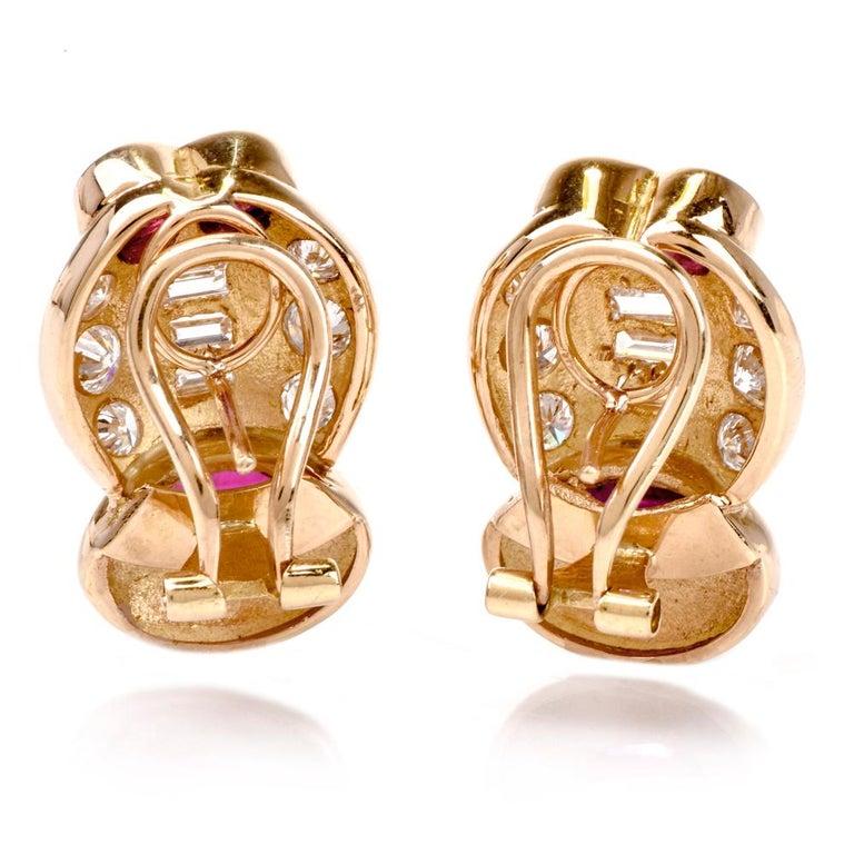 1980s Diamond Ruby Clip on 18 Karat Gold Earrings For Sale 1