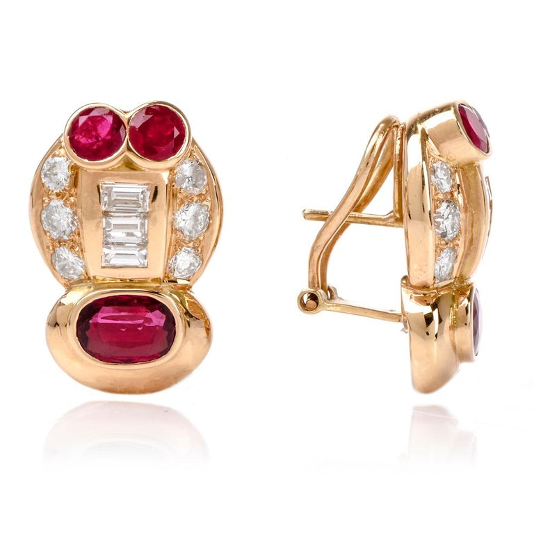 1980s Diamond Ruby Clip on 18 Karat Gold Earrings In Excellent Condition For Sale In Miami, FL