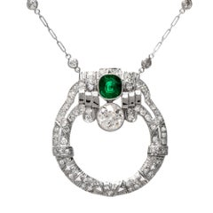 Antique Art Deco Diamond Emerald Circular Pendant Necklace