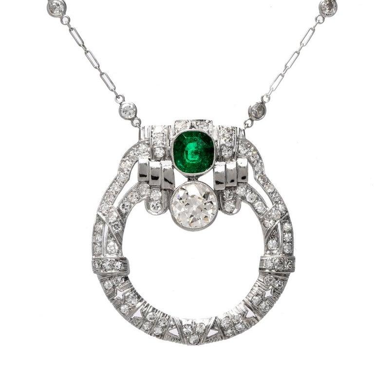 Antique Art Deco Diamond Emerald Circular Pendant Necklace