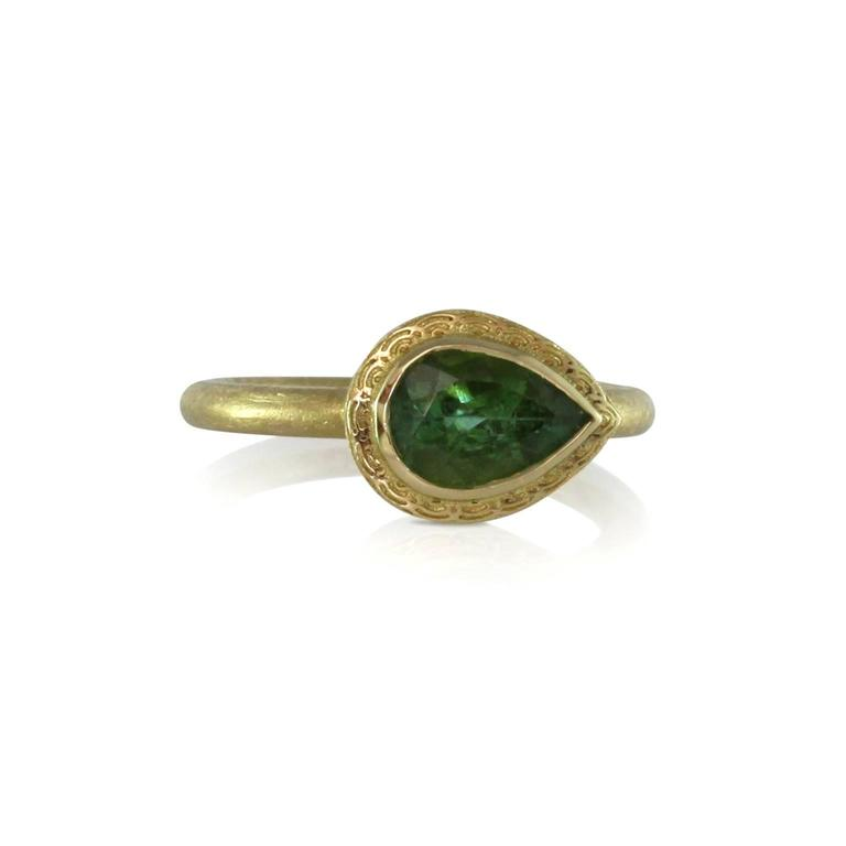 Green Tourmaline and Gold Dress Ring 2