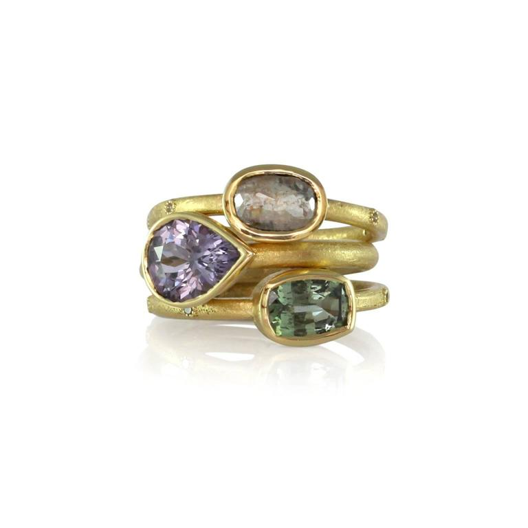 Luca Jouel Green Sapphire & Champagne Diamond Gold Ring 4