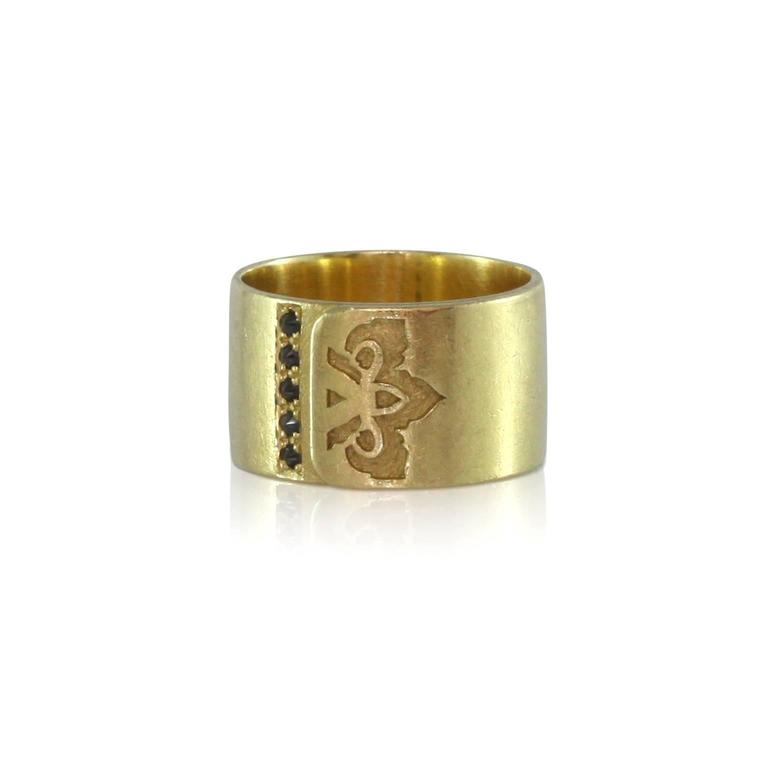 Black Diamond Gold Ring For Sale at 1stdibs