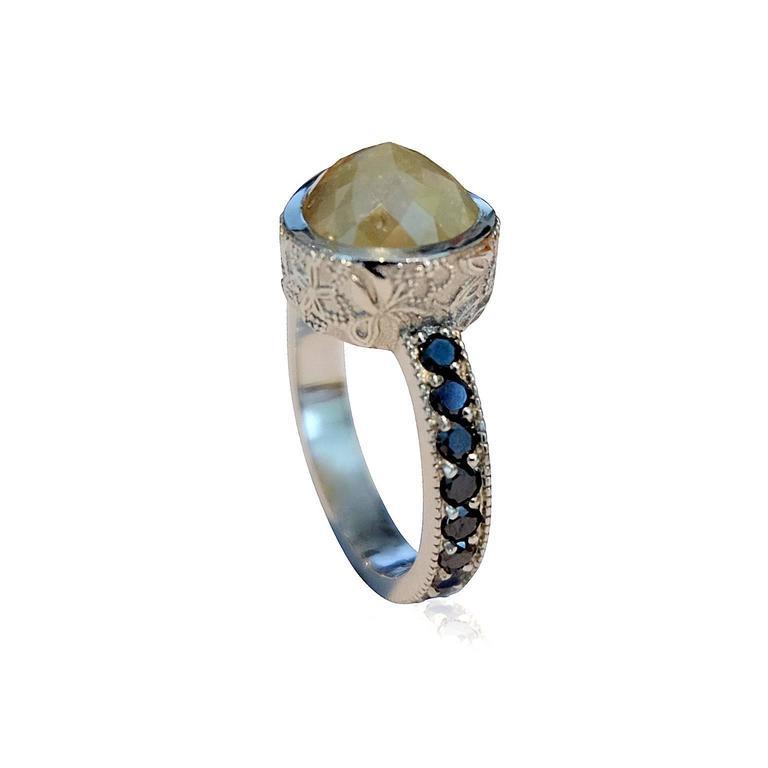green cut and black platinum ring at 1stdibs