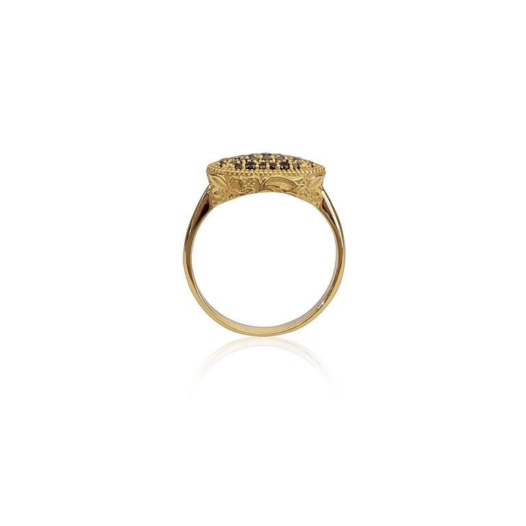 Luca Jouel Ornate Floral Black Diamond Yellow Gold Cocktail Ring In As New Condition For Sale In South Perth, AU