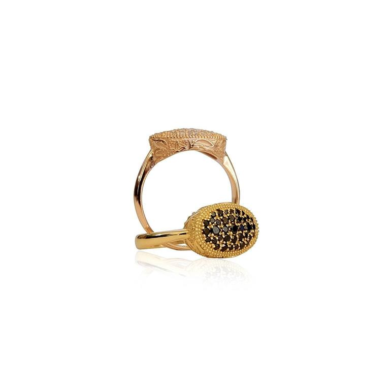 Women's Luca Jouel Ornate Floral Black Diamond Yellow Gold Cocktail Ring For Sale