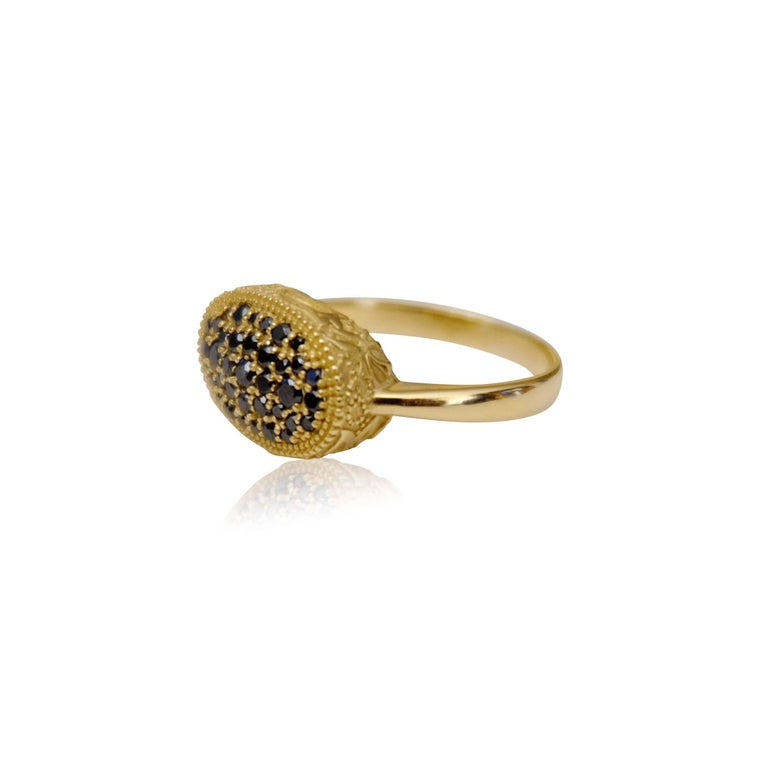 Contemporary Luca Jouel Ornate Floral Black Diamond Yellow Gold Cocktail Ring For Sale