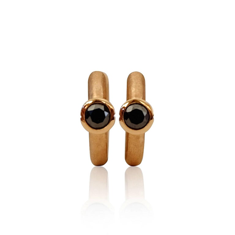 Contemporary Luca Jouel Rosy Ebon Cercle Black Diamond 18ct Rose Gold Petite Hoop Earrings For Sale