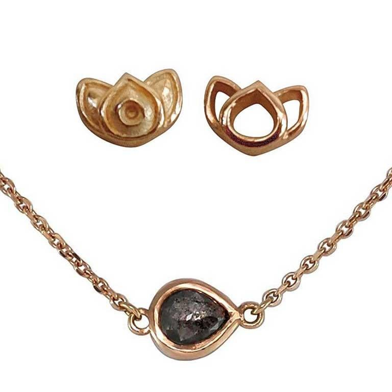 Luca Jouel Rose Cut Pear Diamond Necklace and Mismatching Lotus Earrings