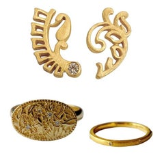 Luca Jouel Diamond 18 Karat Yellow Gold Trio Floral Flower Earrings Ring Set