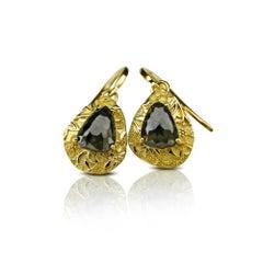 Luca Jouel Rose Cut Charcoal Pear Diamond Ornate Drop Earrings in Yellow Gold