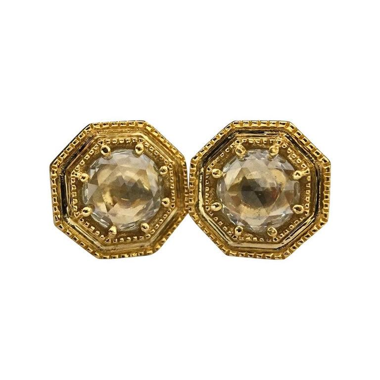 Luca Jouel Rose Cut Diamond Deco Style Stud Earrings in Yellow Gold
