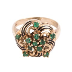 1960s 14 Karat Emeralds and Black Enamel Ring