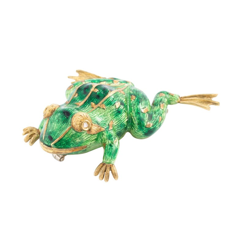 Designer 18 Karat Yellow Gold Diamond and Enamel Frog Brooch