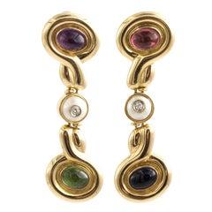18 Karat Gold Multi-Gem Italian Designer Earrings, Long Dangle Tourmaline