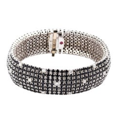 "Roberto Coin 18K White Gold Black Sapphire & White Diamond ""Fantasia Bracelet"""