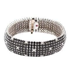 "Roberto Coin 18K White Gold Black Sapphire & White Diamond ""Fantasia Bracelet"""