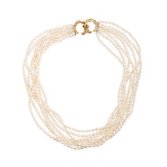 Seven-Strand Fresh Water Pearl Necklace with Naturalistic 14 Karat Gold Clasp