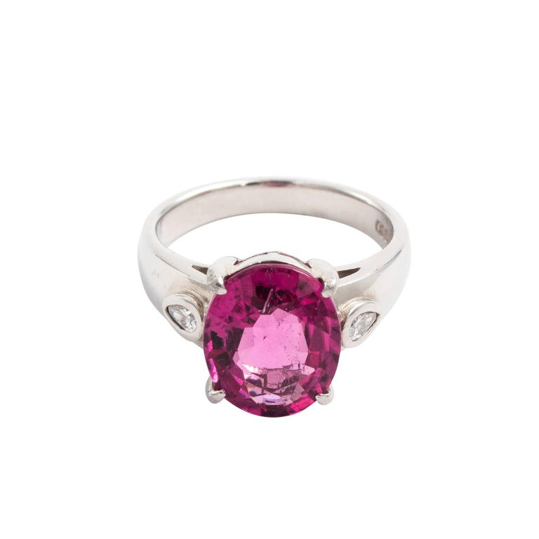 Platinum 4.55 Carat Rubellite Tourmaline Diamond Ring