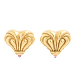 Vahe Naltchayan 18 Karat Gold Heart Pink Tourmaline Earrings