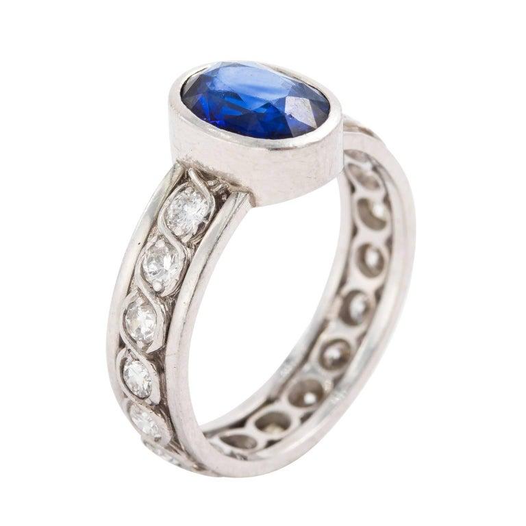 18K White Gold Royal Blue Sapphire Eternity Diamond Ring