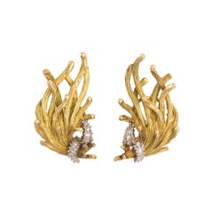Coral Shaped Gold and Diamond Earrings