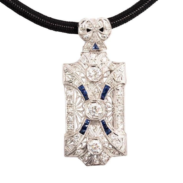 Edwardian Platinum Diamond Sapphire Pendant Brooch