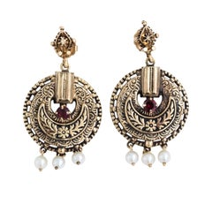 Victorian 14K Yellow Gold Garnet Dangle Earrings