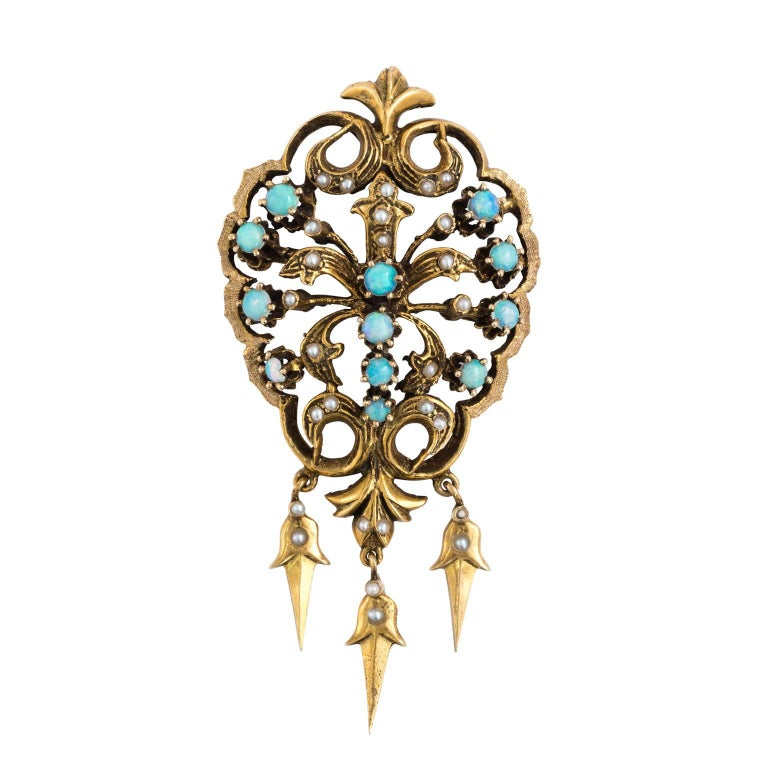 Victorian 14K Yellow Gold Opal Seed Pearl Pin Brooch or Pendant