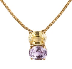 18K Yellow Gold Natural Yellow Sapphire Pendant Necklace