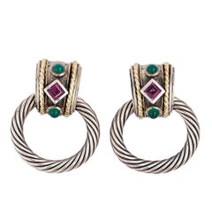 David Yurman Vintage Cable Doorknocker Earrings with Amethyst-Emerald Stones
