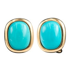 14 Karat Yellow Gold Turquoise Earrings French Clip Backs